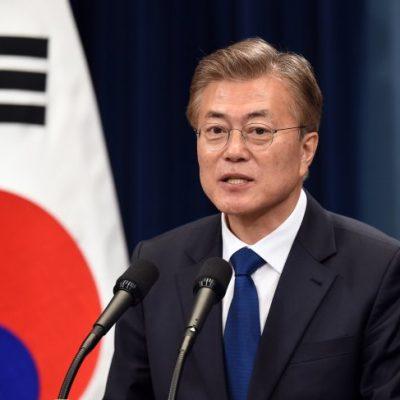 La Corée du Sud, aussi, a un nouveau président. Il veut dire deux mots à son voisin du nord. | Crédit photo Jung Yeon-Je / Getty Images